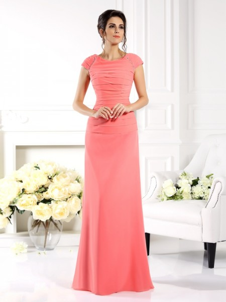 Fashion A-Line/Princess Short Sleeves Long Bateau Chiffon Mother of the Bride Dresses
