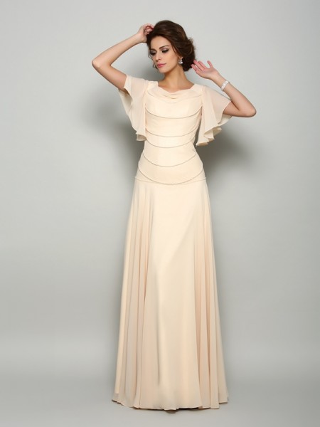 Fashion A-Line/Princess Beading Short Sleeves Square Long Chiffon Mother of the Bride Dresses