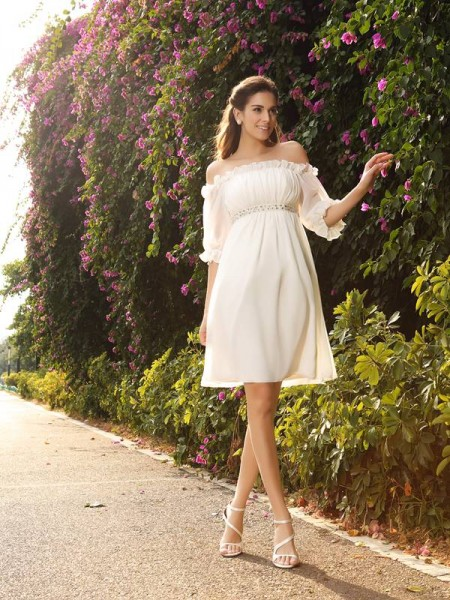 Stylish A-Line/Princess Beading 1/2 Sleeves Off-the-Shoulder Short Chiffon Wedding Dresses