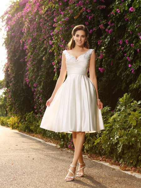Fashion A-Line/Princess Beading Sleeveless V-neck Short Satin Wedding Dresses