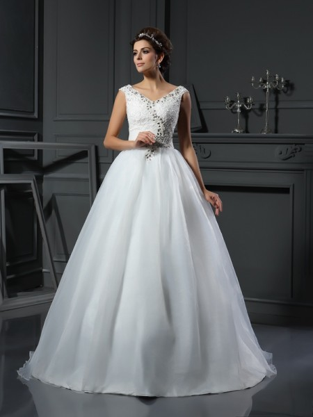 Stylish A-Line/Princess Beading Sleeveless V-neck Long Organza Wedding Dresses