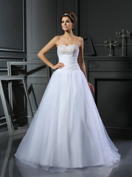 Fashion Ball Gown Beading Sleeveless Sweetheart Long Satin Wedding Dresses