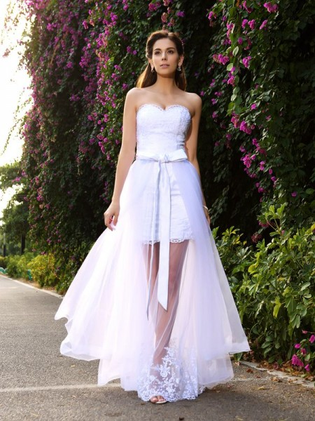 Stylish Trumpet/Mermaid Applique Sleeveless Sweetheart Long Tulle Wedding Dresses