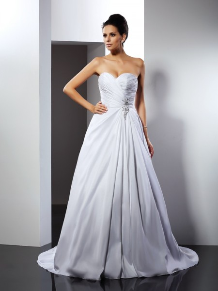 Fashion A-Line/Princess Ruffles Sleeveless Sweetheart Long Satin Wedding Dresses