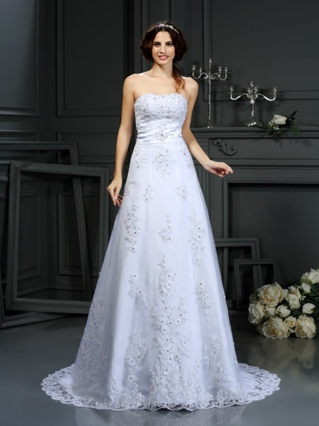 Fashion A-Line/Princess Applique Sleeveless Strapless Long Satin Wedding Dresses