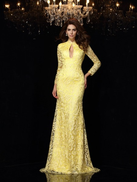 Fashion Sheath/Column Lace Long Sleeves High Neck Long Satin Dresses