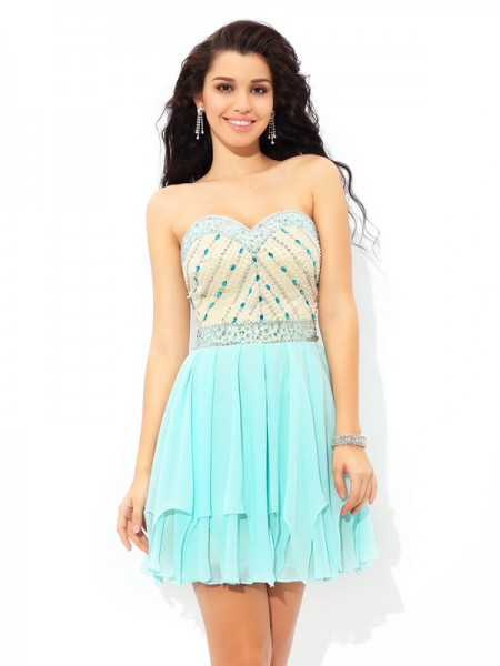 Stylish A-Line/Princess Beading Short Sweetheart Sleeveless Chiffon Cocktail Dresses