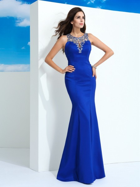 Fashion Sheath/Column Beading Sleeveless SheerNeck Long Chiffon Dresses