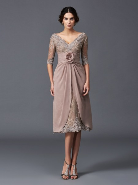 Fashion A-Line/Princess Hand-Made Flower V-neck 1/2 Sleeves Short Lace Mother of the Bride Dresses