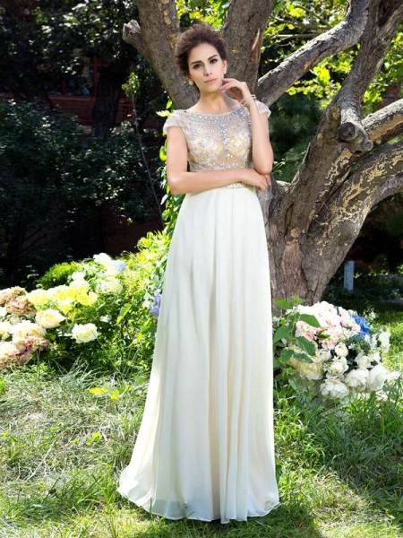 Stylish A-Line/Princess Rhinestone Short Sleeves SheerNeck Long Chiffon Dresses