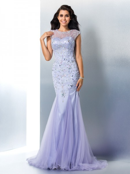 Stylish Trumpet/Mermaid Beading Sleeveless SheerNeck Long Satin Dresses