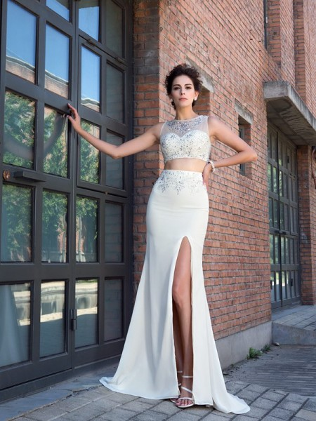 Stylish Sheath/Column Crystal Sleeveless High Neck Long Chiffon Two Piece Dresses