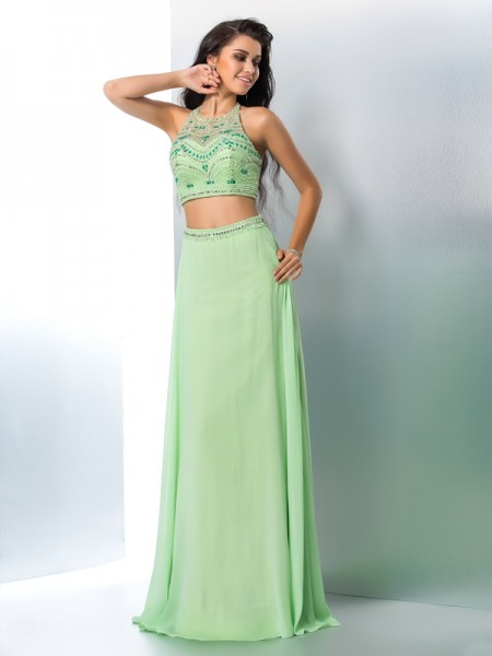 Stylish A-Line/Princess Beading Sleeveless Halter Long Chiffon Two Piece Dresses