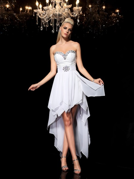 Fashion A-Line/Princess Beading Sleeveless Sweetheart High Low Chiffon Cocktail Dresses