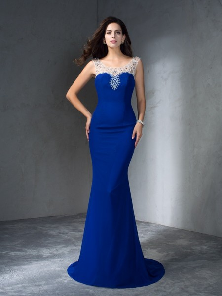 Stylish Trumpet/Mermaid Beading Sleeveless Scoop Long Chiffon Dresses
