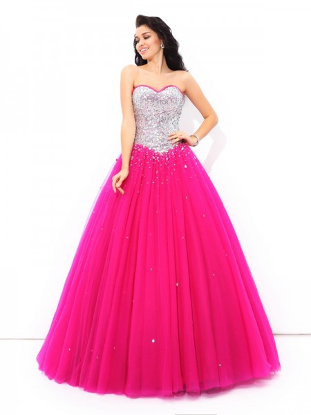 Stylish Ball Gown Sweetheart Sleeveless Beading Long Satin Quinceanera Dresses