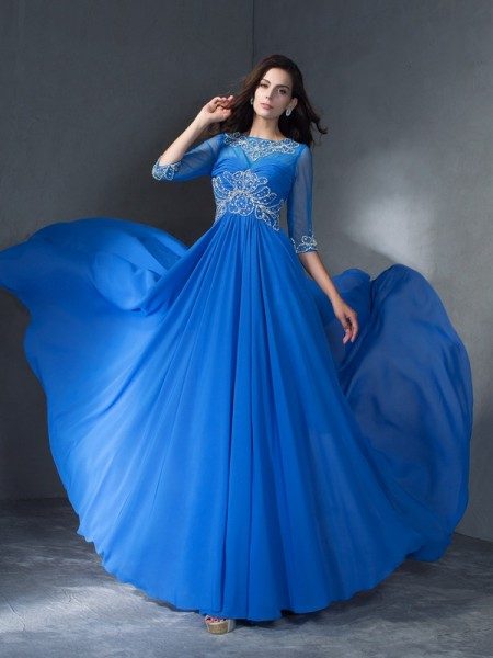 Fashion A-Line/Princess Beading 1/2 Sleeves Scoop Long Chiffon Dresses