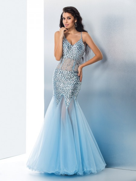 Fashion Trumpet/Mermaid Straps Sequin Spaghetti Sleeveless Long Organza Dresses