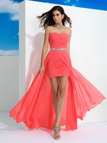 Stylish Sheath/Column Pleats Sleeveless Sweetheart Long Chiffon Dresses