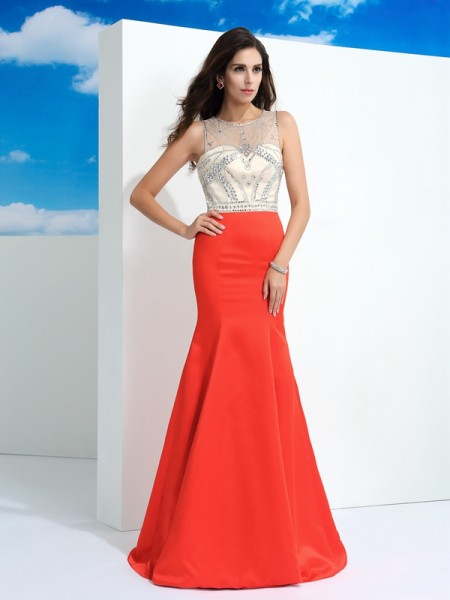 Fashion Trumpet/Mermaid Beading Sleeveless SheerNeck Long Satin Dresses