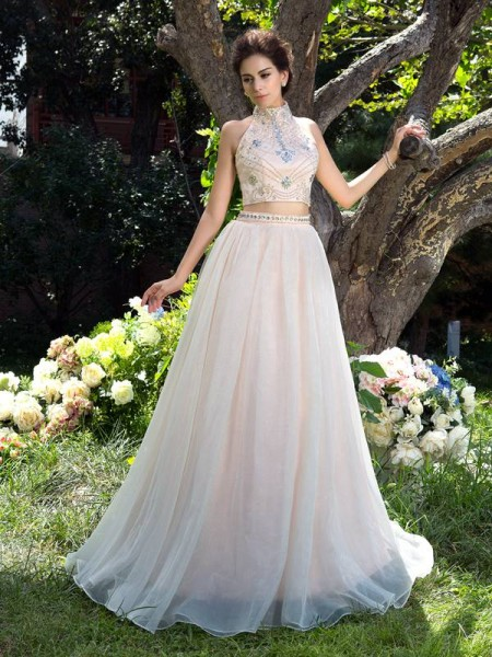 Stylish A-Line/Princess Beading Sleeveless High Neck Long Net Two Piece Dresses