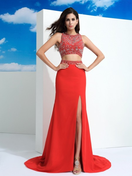 Fashion Sheath/Column Beading Sleeveless Scoop Long Chiffon Two Piece Dresses