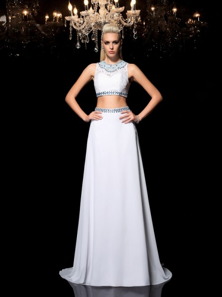 Stylish A-Line/Princess Beading Sleeveless Jewel Long Chiffon Two Piece Dresses