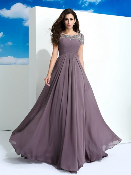 Stylish A-Line/Princess Beading Short Sleeves SheerNeck Long Chiffon Dresses