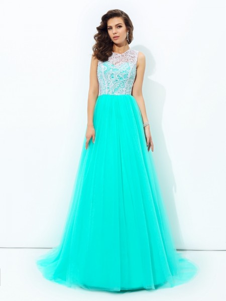 Stylish A-line/Princess Lace Sleeveless Scoop Long Net Dresses