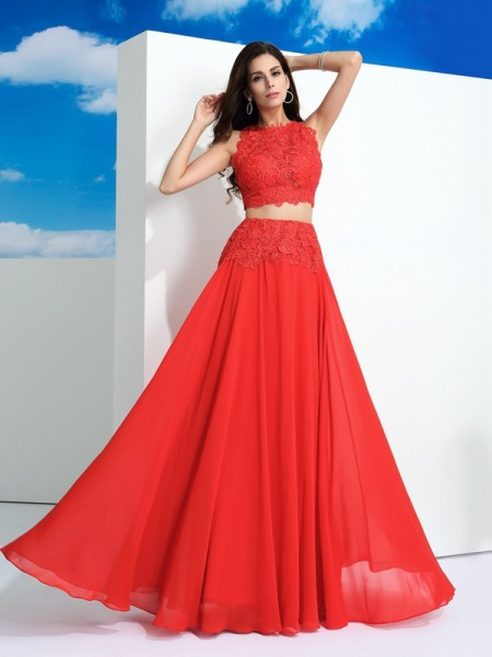 Stylish A-Line/Princess Lace Sleeveless Scoop Long Chiffon Two Piece Dresses