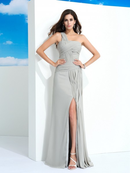 Fashion Sheath/Column Pleats Sleeveless One-Shoulder Long Chiffon Dresses