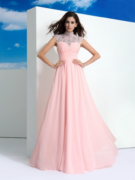 Stylish A-Line/Princess Beading Sleeveless SheerNeck Long Chiffon Dresses