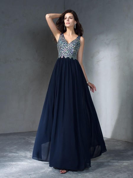 Stylish A-Line/Princess Beading Sleeveless V-neck Long Chiffon Dresses