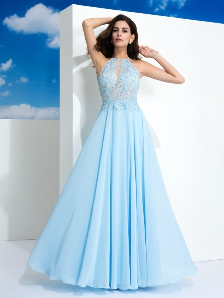 Fashion A-Line/Princess Straps Applique Spaghetti Sleeveless Long Chiffon Dresses