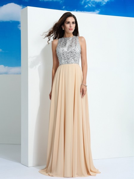 Stylish A-Line/Princess Paillette Sleeveless Scoop Long Chiffon Dresses