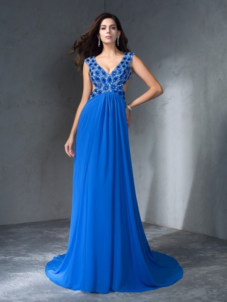 Fashion A-Line/Princess Sequin Sleeveless V-neck Long Chiffon Dresses