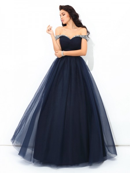 Fashion Ball Gown Beading Sleeveless Off-the-Shoulder Long Net Quinceanera Dresses