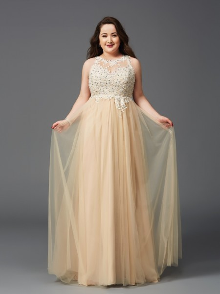Stylish A-Line/Princess Rhinestone Sleeveless Scoop Long Net Plus Size Dresses