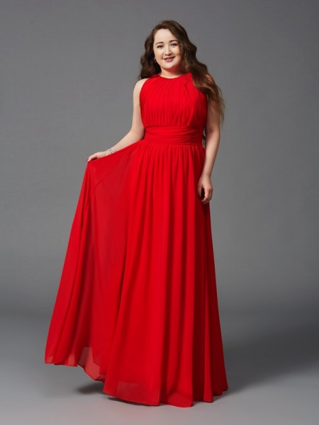 Fashion A-Line/Princess Ruched Sleeveless Jewel Long Chiffon Plus Size Dresses