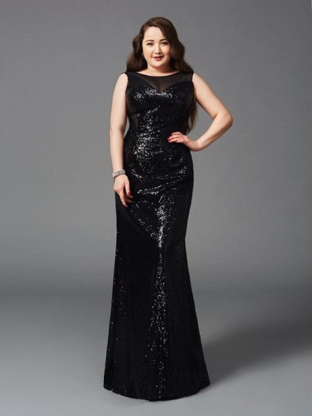 Fashion Sheath/Column Sleeveless Long Scoop Sequins Plus Size Dresses