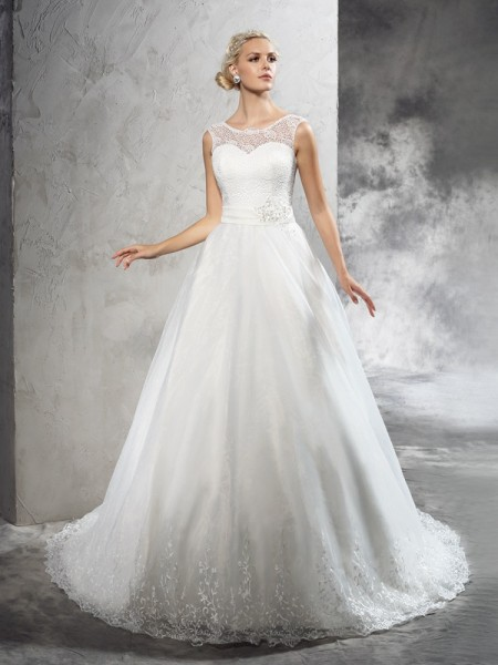 Stylish Ball Gown Sash/Ribbon/Belt Sleeveless SheerNeck Long Net Wedding Dresses