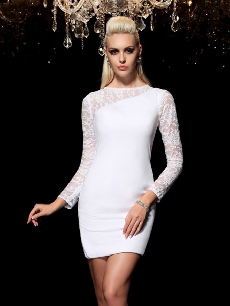 Fashion Sheath/Column Lace Long Sleeves Scoop Short Elastic Woven Satin Cocktail