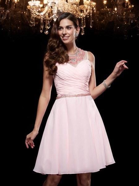 Fashion A-Line/Princess Beading Sleeveless Scoop Short Chiffon Dresses