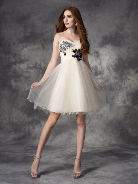 Fashion A-line/Princess Applique Sleeveless Sweetheart Short Net Dresses