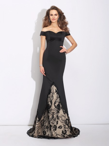 Stylish Trumpet/Mermaid Lace Sleeveless Off-the-Shoulder Long Satin Dresses