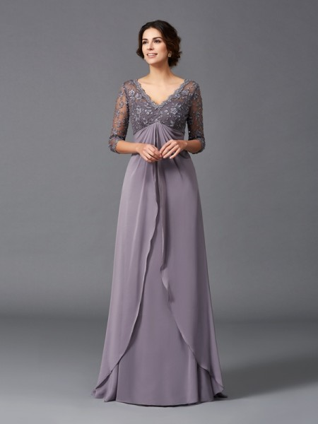 Fashion A-Line/Princess Lace 3/4 Sleeves V-neck Long Chiffon Mother of the Bride Dresses