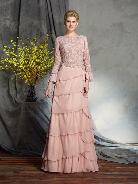 Fashion Sheath/Column Ruffles Long Sleeves Scoop Long Chiffon Mother of the Bride Dresses