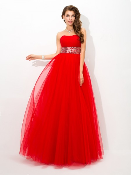 Stylish Ball Gown Beading Sleeveless Strapless Long Net Quinceanera Dresses