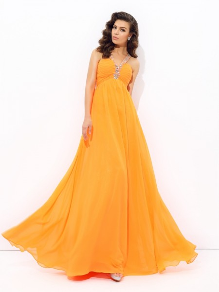 Fashion A-line/Princess Rhinestone Sleeveless V-neck Long Chiffon Dresses