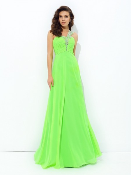 Stylish A-line/Princess Rhinestone Sleeveless One-Shoulder Long Chiffon Dresses